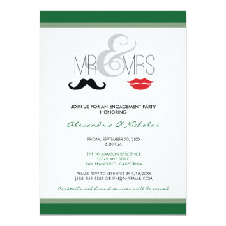 Mr. & Mrs. Engagement Party Invitation (green)