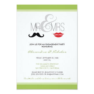 Mr. & Mrs. Engagement Party Invitation (lime)