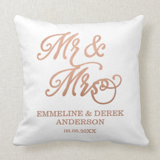 Mr & Mrs Faux Copper | Custom Names & Wedding Date Throw Pillow