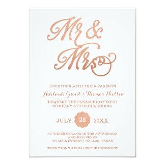 Mr & Mrs Faux Copper Wedding Invitation