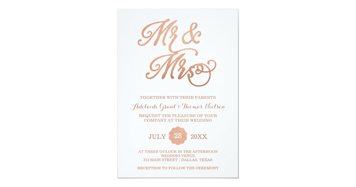 Mr & Mrs Faux Copper Wedding Invitation | Zazzle.com