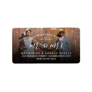 Mr & Mrs First Christmas Chic Holiday Photo Labels