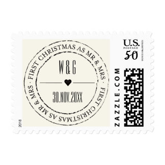 Mr & Mrs First Christmas Circle Seal Holiday Stamp