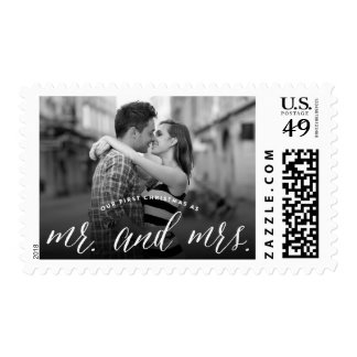 Mr & Mrs First Christmas Holiday Photo Stamps