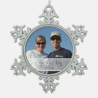 Mr & Mrs First Christmas Photo Photograph Picture Snowflake Pewter Christmas Ornament