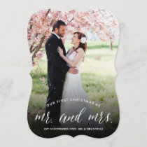 Mr & Mrs First Christmas Script Holiday Photo Card