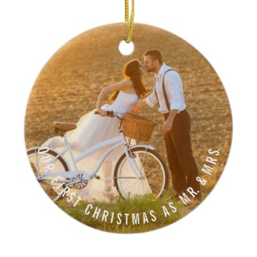 Christmas Themed Mr & Mrs First Christmas Wedding Photo Ornament