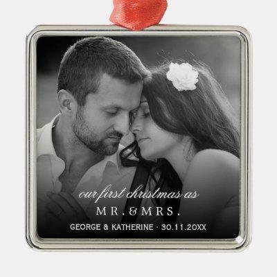 Mr & Mrs First Christmas Wedding Photo Ornament | Zazzle.com