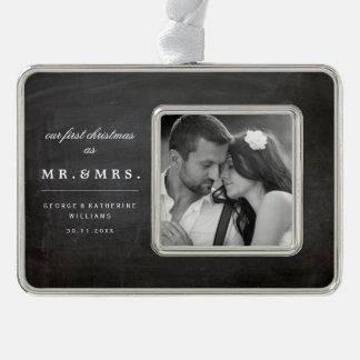 Mr & Mrs First Christmas Wedding Photo Ornament