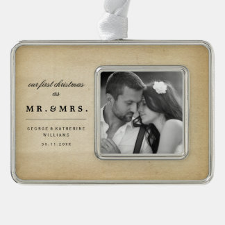 Mr & Mrs First Christmas Wedding Photo Ornament Silver Plated Framed Ornament
