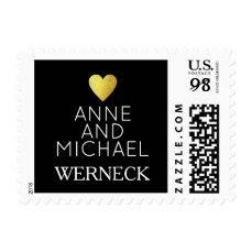 Mr & Mrs first names / surname, love wedding black Postage