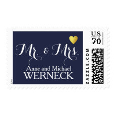 Mr & Mrs first names / surname, wedding blue Postage