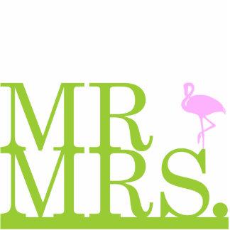 Mr & Mrs Flamingo Cake Topper Standing Photo Sculpture