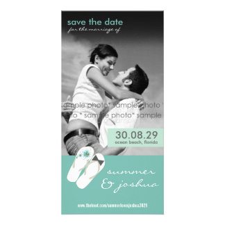Mr & Mrs Flip Flops Beach Save The Date Photo Card