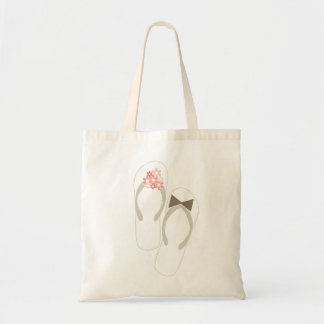 Mr & Mrs Flip Flops Flowers Beach Wedding Tote Bag