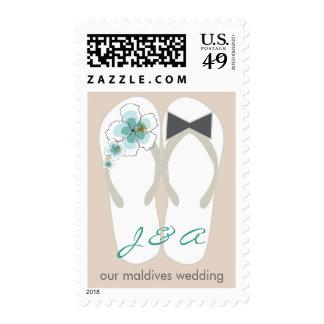 Mr & Mrs Flip Flops Hibiscus Beach Wedding Stamps