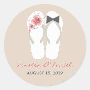 37660b9c243695 Mr   Mrs Flip Flops Hibiscus Beach Wedding Sticker
