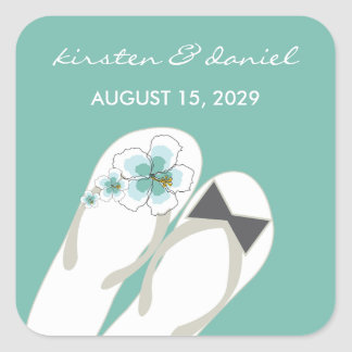 Mr & Mrs Flip Flops Hibiscus Beach Wedding Sticker