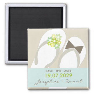 Mr & Mrs Flip Flops Wedding Save The Date Magnet