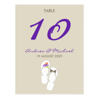 Mr & Mrs Flip Flops Wedding Table Number Card