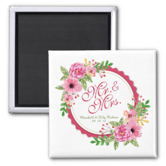 Mr. & Mrs. Floral Watercolor Wedding | Magnet