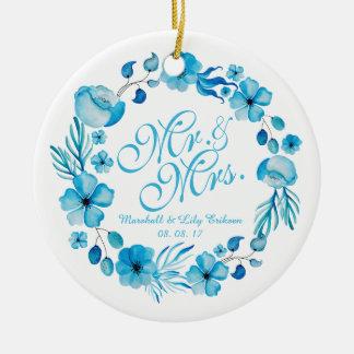 Mr. & Mrs. Floral Watercolor Wedding | Ornament