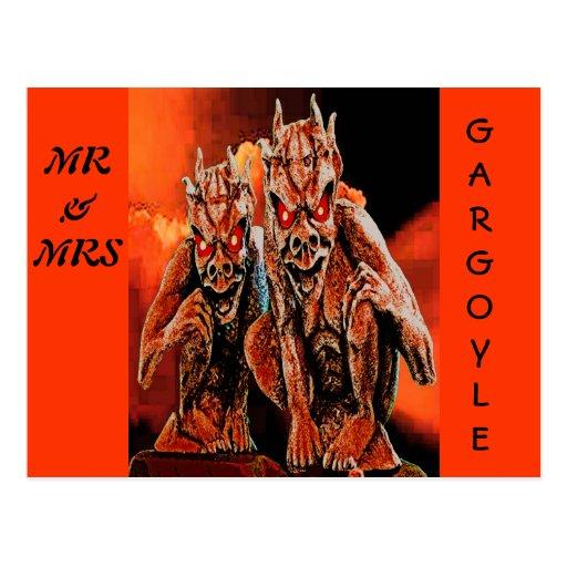 MR & MRS GARGOYLE POST CARD