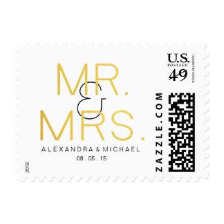 Mr.&Mrs. Gold Elegant Typography Wedding Postage