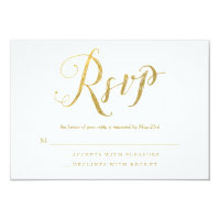 Mr & Mrs Gold Elegant Wedding RSVP Response Cards