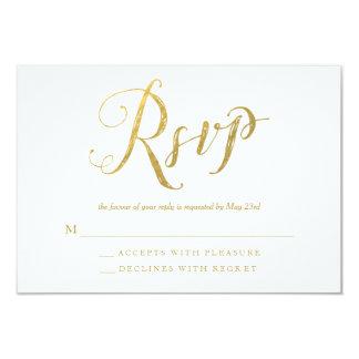 Mr & Mrs Gold Elegant Wedding RSVP Response Cards