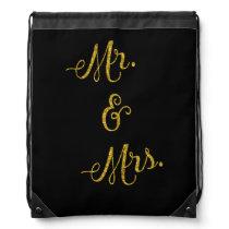 Mr. & Mrs. Gold Faux Glitter Metallic Sequins Drawstring Backpack