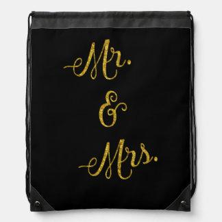 Mr. & Mrs. Gold Faux Glitter Metallic Sequins Drawstring Backpacks