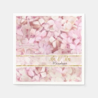 Mr. & Mrs. Gold Faux Glitter Pink Hydrangea Floral Napkin