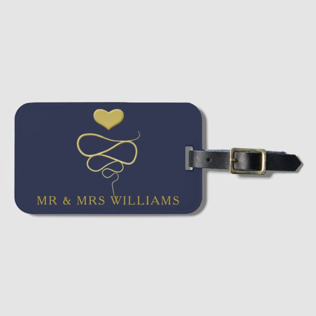 Mr & Mrs | Gold Heart Ornament | Personalized Navy