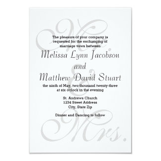 Mr. & Mrs. Gray - 3x5 Wedding Invitation