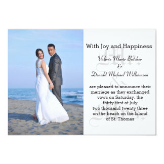 Mr. & Mrs. Gray Text - Photo Marriage Announcement