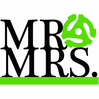 Mr & Mrs Green & Black 45 Adapter Cake Topper Cutout