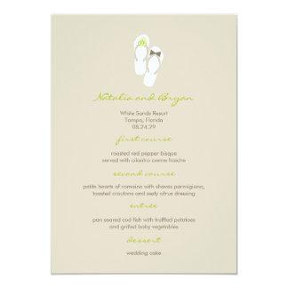 Mr & Mrs Green Flip Flops Beach Wedding Menu Card