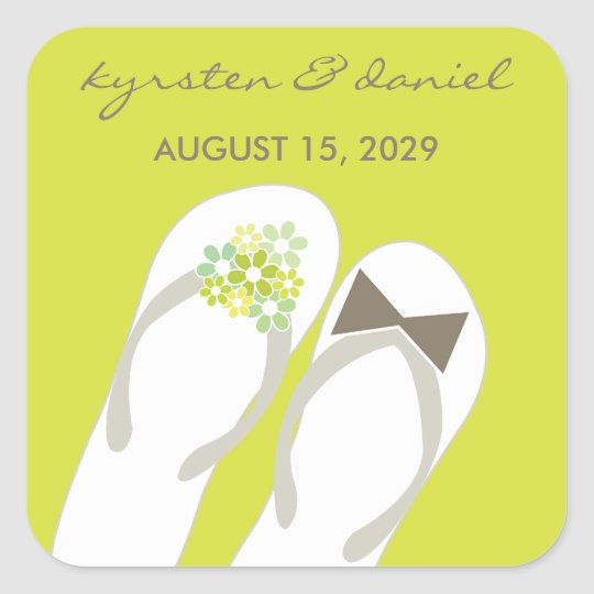 Mr & Mrs Green Flip Flops Beach Wedding Sticker