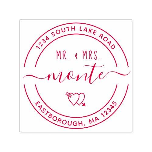 Mr  Mrs Heart 5 Custom Round Return Address Self_inking Stamp