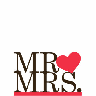 Mr & Mrs Heart Cake Topper Cut Out