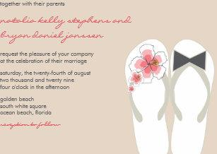 a5b0cc4c7271 Mr   Mrs Hibiscus Flip Flops Beach Wedding Invite
