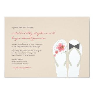 Mr & Mrs Hibiscus Flip Flops Beach Wedding Invite