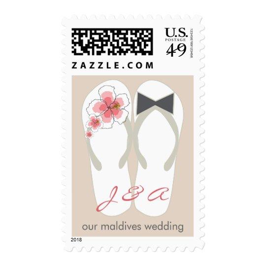 Mr & Mrs Hibiscus Flip Flops Beach Wedding Stamps