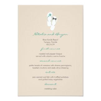 Mr & Mrs Hibiscus Flip Flops Wedding Menu Card