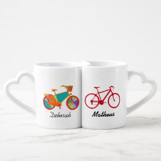 mr mrs his her bicycles couples' coffee mug set
