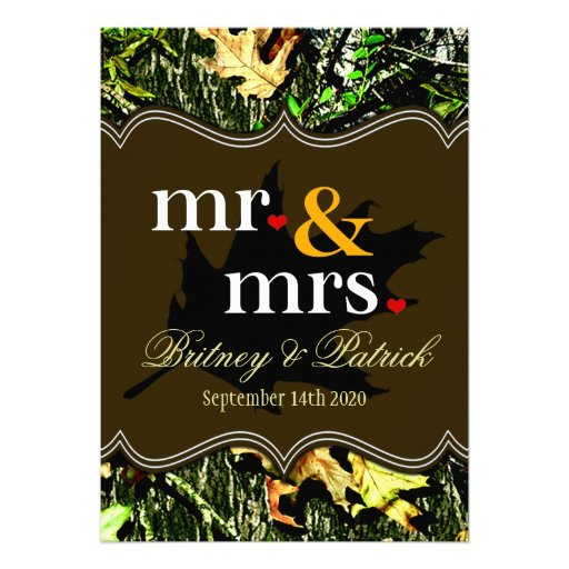 Mr & Mrs Hunting Camo Brown Wedding Invitations