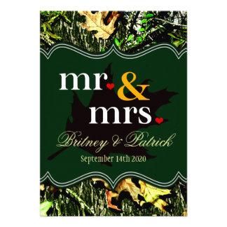 Mr Mrs Hunting Camo Green Wedding Invitations