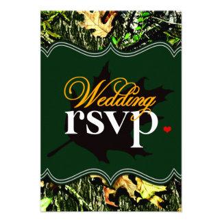 Mr & Mrs Hunting Camo Green Wedding RSVP Cards