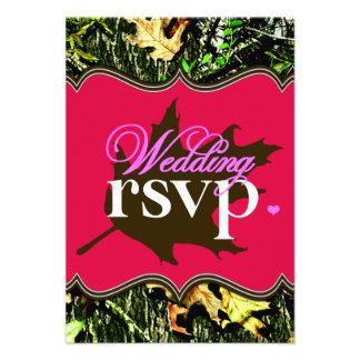 Mr & Mrs Hunting Camo Hot Pink Wedding RSVP Cards